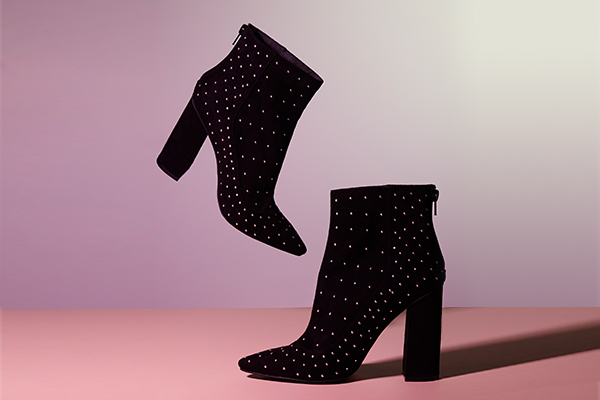 missguided black and gold stud ankle boots