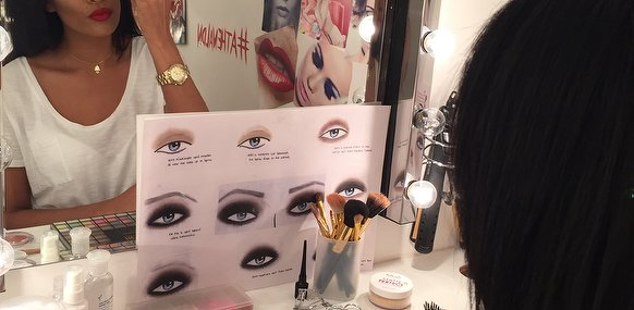 make up studio with makeup boards eyebrow brushes